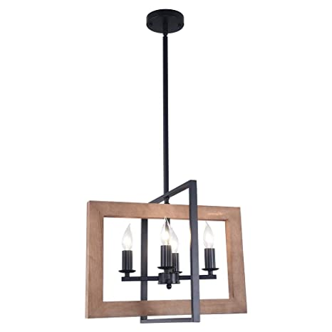 Lingkai Industrial Chandeliers Kitchen Island Light 4 Light Country Pendant Lighting Farmhouse Hanging Light Fixture Distressed Wood And Matte Black