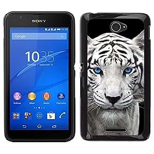 EJOY---Cubierta de la caja de protección para la piel dura ** Sony Xperia E4 ** --Snow Leopard Tiger perrito lindo Cub Ojos azules