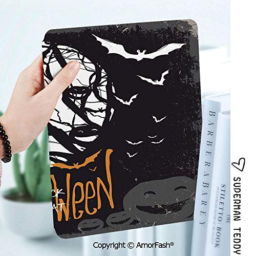 Ultra Lightweight Standing Cover for Galaxy Tab A 8.0 Inch SM-T380/T385 2017,Vintage Halloween Halloween Themed Image with Full Moon and Jack o Lanterns on a Tree Decorative