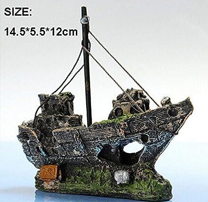 VEA-DE-DE - Decoración para Acuario o pecera, diseño de Barco Pirata de Resina: Amazon.es: Hogar