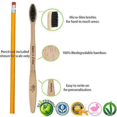 Medium Charcoal Toothpaste Toothbrushes Bamboo Toothbrush Natural Eco-Friendly Reusable Organic Vegan Biodegradable Bristles Ergonomic Design (4-Pack) - BLACK