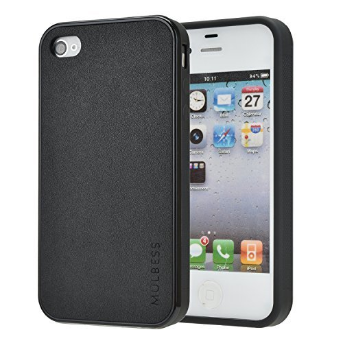 ss Slim Leather Back Case with Flexible TPU Silicone [Textured Grip] Hybrid Cover for Apple iPhone 4 / 4s,Black ()