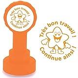 Tampon Auto-encreur pour Enseignant -Très bon travail ! / Continue ainsi ! Encre orange. Design d'étoile (star) heureux