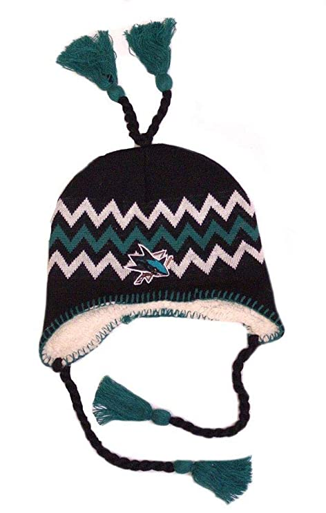 1277d8b9d5d Image Unavailable. Image not available for. Color  NHL Licensed Sherpa  Lined Tassel Beanie Hat Cap Lid Skull (San Jose Sharks Green)