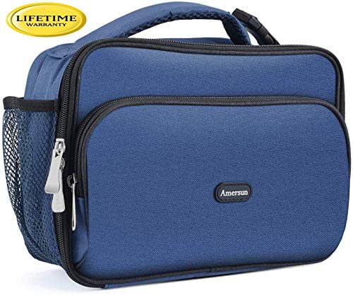 Amersun Kids Lunch Bag, Durable Insulated School Lunch Bag with Padded Liner Keeps Food Warm Cold Longer Time,Small Water-resistant Thermal Travel Office Lunch Cooler for Boys Girls-2 Pockets, Blue