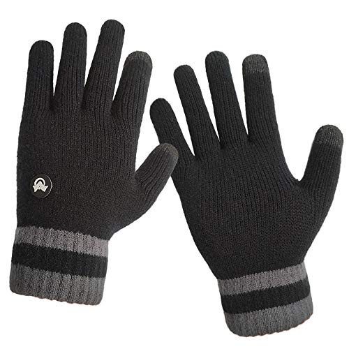 LETHMIK Thick Touchscreen Knit Gloves,Mens&Womens Winter Solid Color Knitted Warm Wool Lined Texting Gloves