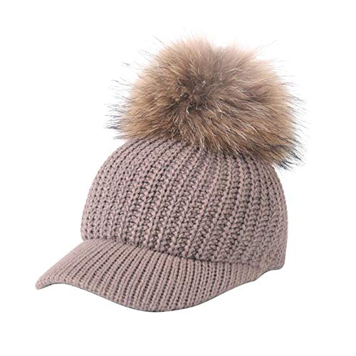 MEANIT Warm Cable Ribbed Knit Beanie Hat w/Visor Brim - Chunky Winter Skully Cap ()
