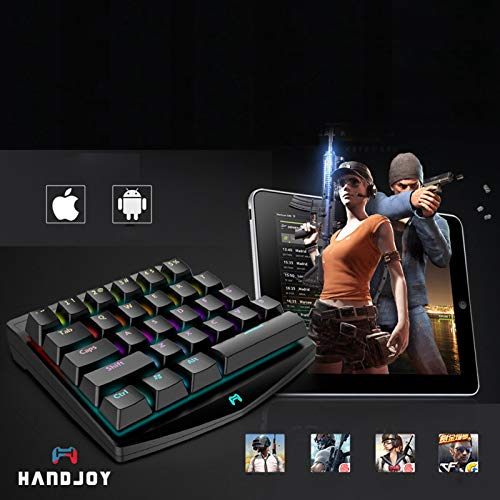 XBERSTAR Handjoy K1 PUBG Mobile Game One-Hand Wireless Mini RGB Mechanical  Keyboard 28 Keys Switches for iOS/ANDRIOD
