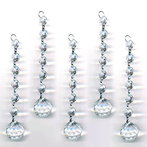 Fan Pendant Bead (Clear 5 Pieces Diamond Hanging Crystal Garland Wedding Strand with 6 Beads and Ball Prism Pendant Accent Made with Magnificent Crystal (20mm))