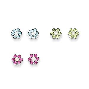 .925 Sterling Silver 6 MM Children's Stellux Crystal Pearl Flower 3pc Set Post Stud Earrings