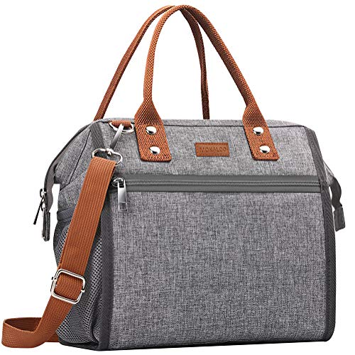 Insulated Lunch Bag, MOKALOO Large Capacity Lunch Tote Box With Removable Shoulder Strap, Multi-functional Reusable Thermal Snacks Cooler Bag for Men, Women ()