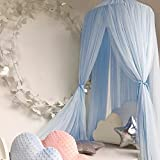 Awhao Mosquito Bed nets with Round Lace Children Dome Fantasy Champion Netting Curtains Play Tent Bed Canopy (Blue)