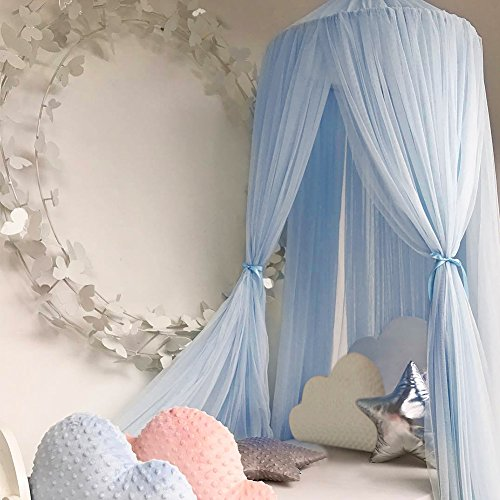 Bed Canopy for Girls/Boys/Baby Games House, Mosquito Net for Bed Kids Playing/Reading, Round Dome Netting Curtains Mosquito Net Bed Canopy Play Tent (Light Blue)