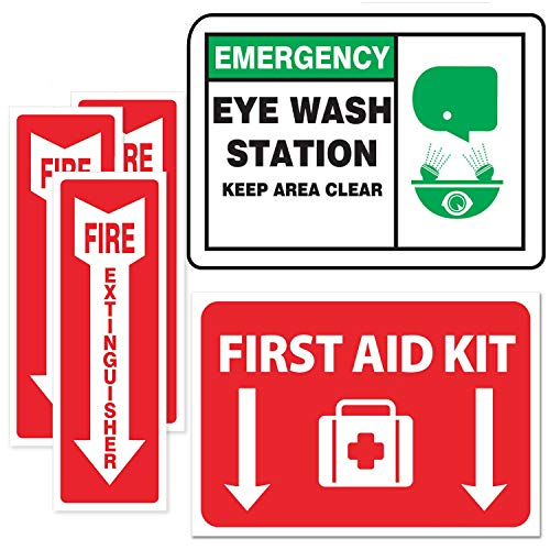 Emergency Safety Sticker Sign [Full Set] - Fire Extinguisher Arrow - Eye Wash Station - First Aid - OSHA Requirement ()