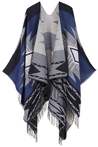 (Andorra Women's Vintage Soft Merino Wool Kimono Wrap Cardigan Ruanas w/Tassels (Vision - Blue))