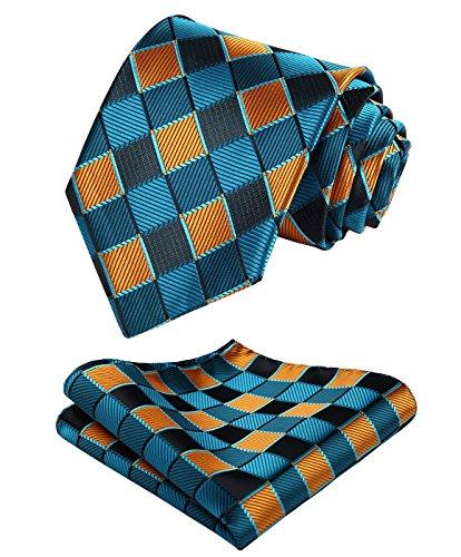 Enmain Check Jacquard Woven Men's Wedding Silk Tie Pocket Square Necktie Set Orange / Blue / Aqua
