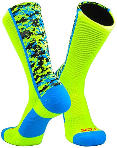 TCK Sports Digital Camo Crew Socks (Neon Yellow/Electric Blue, Small)