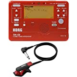 Korg TM50BK Instrument Tuner and Metronome w/ Clip On Microphone (Red Tuner w/ Red Mic)