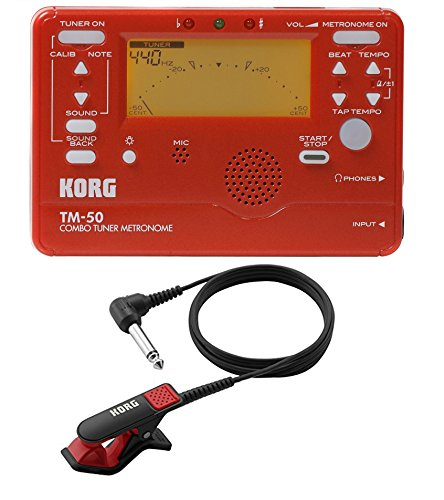 Korg TM-50 Instrument Tuner and Metronome w/Clip On Microphone In Red by Korg