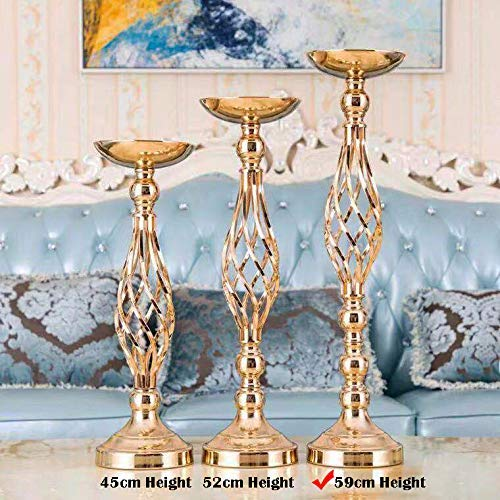 Sfeexun Versatile Metal Flower Arrangement & Candle Holder Stand Set Candlelabra for Wedding Party Dinner Centerpiece Event Restaurant Hotel Decoration (Twist Style, 10 x L) by Sfeexun (Image #1)