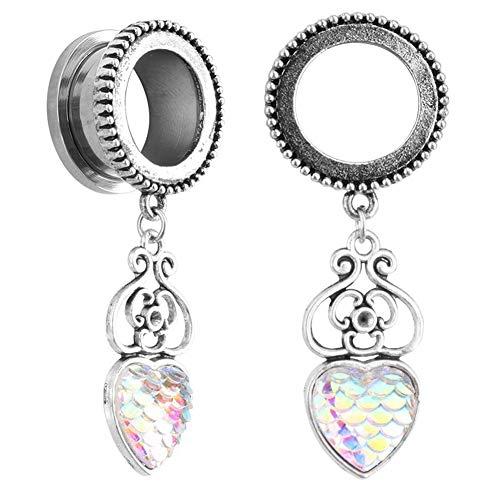 Tunnels Earrings Flesh (Softmusic Women Piercing Flesh Tunnel Ear Expander Heart Shape Pendant Dangle Earrings Ab 25mm)
