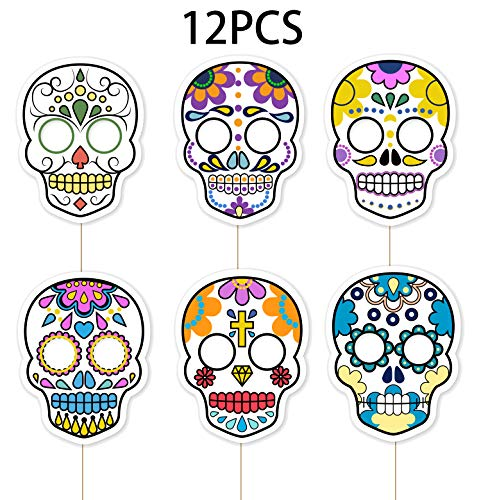 Day of the Dead Masks - Sugar Skull Photo Booth Props Halloween Party Supplies Decorations (Day Of The Dead Party Supplies Bulk)