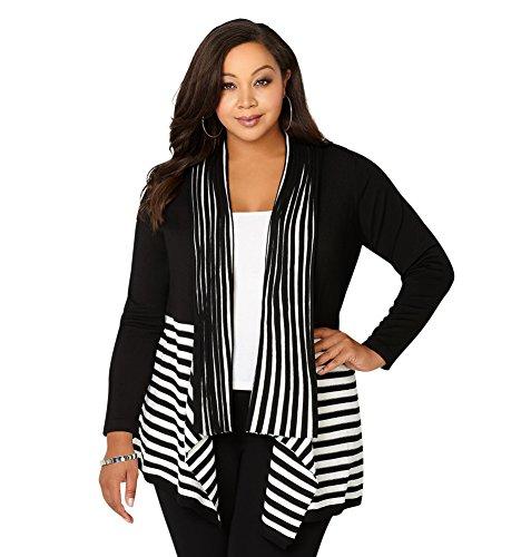 Avenue Women's Striped Shawl Cardigan, 14/16 Black White