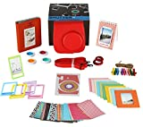 Fujifilm Instax Mini 9 or Mini 8/ 8+ Instant Camera Accessories 11 Piece Gift set Includes RASPBERRY Case with Strap, Fujifilm Albums, Filters, Selfie lens, Hanging + Creative Frames, stickers & More.