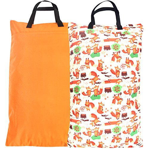 nging Wet Dry Cloth Diaper Bag(2 PACK,Orange,Fox) ()