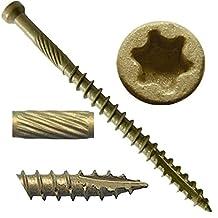 """#7 x 2"""" Bronze Star Exterior Coated """"Tiny"""" FINISH HEAD Wood Screw Torx/Star Drive Head (Bulk Box) - Finish Head Exterior Coated Torx/Star Drive Wood Screws - Tiny Head Wood Screws"""