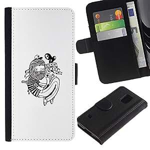 KLONGSHOP // Tirón de la caja Cartera de cuero con ranuras para tarjetas - Hipster Tatuaje - Samsung Galaxy S5 V SM-G900 //