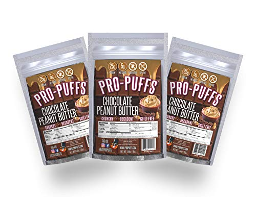 Pro-PuffsTM Chocolate PB | 25g Protein – 5g Net Carbs | High Protein Puffs | Low Carb, Keto Friendly, Gluten Free, Soy Free | (Chocolate PB, 3 Pack) …