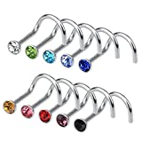 Rbenxia 20G 316L Nose Studs Rings 2.2MM Rhinestone Stainless Steel Nose Body Piercing Rings 10 Pcs Random Color for Unisex
