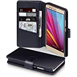 Honor 5X Case, Terrapin [GENUINE LEATHER] Huawei 5X Case Executive [Black] Premium Wallet Case with Card Slots & Bill Compartment Case for Huawei Honor 5X - Black