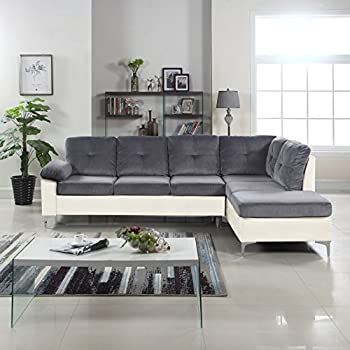 Amazoncom Modern Tone Tufted Brush Microfiber Faux Leather - Dark grey leather sectional sofa
