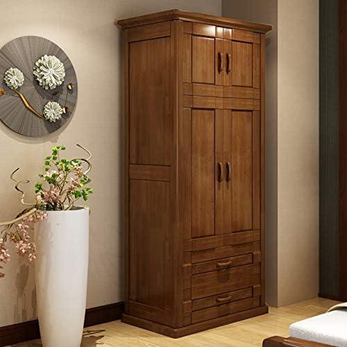 NWW Modern Solid Wood Wardrobe 2 Open Bedroom Storage Storage Oak Wardrobe Small Family Assembly Furniture