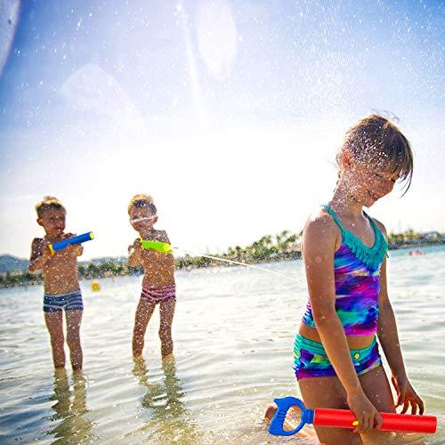 Kiztoys Water Gun for Kids Adults,4pcs Super Water Pistol Cool Summer 35cm Foam Pump Action Water Gun Toy 8m Range,Pool Beach Garden Lawn Water Fight,Gifts for Boys Girls
