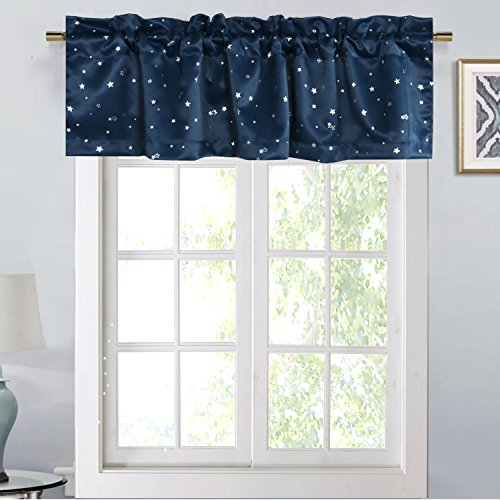 H.VERSAILTEX Blackout Energy Efficient Rod Pocket 52-inch by 18-inch Curtain Valance for Kitchen,Bath,Laundry,Bedroom,Living Room,Glitter Stars in Navy Base, 1 - Navy Base