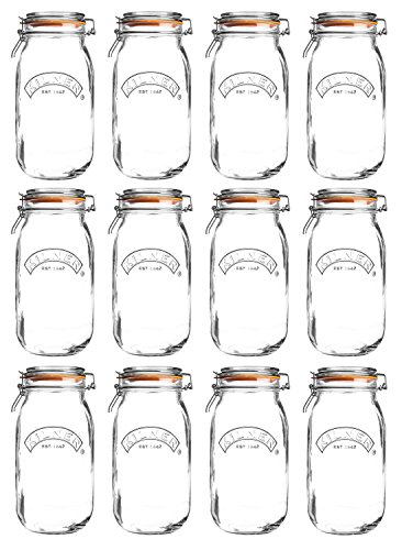 Kilner Round Clip Top Jar, 1.5 Liter, Case of 12 by Kilner