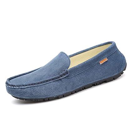 Jiuyue-shoes Ropa para Hombres con Suelas de Cuero Suave Mocasines para Barcos Mocasines con