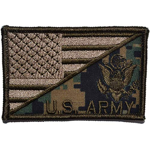 (Army Crest with Text USA Flag - 2.25x3.5 Morale Patch - MARPAT Woodland)
