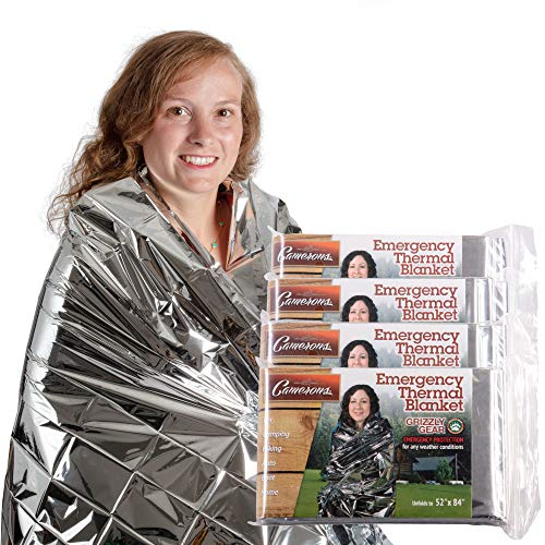 """Grizzly Gear Emergency Thermal Blankets (4 Pack) Folds to 52"""" X 84"""""""