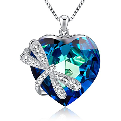GAEA H Heart Ocean Pendant Necklace Wrap Dragonfly, Crystal from Swarovski Jewelry Heart Necklaces Women (Blue) ()