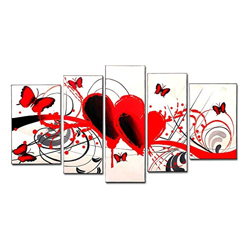 FLY SPRAY 5-Piece 100% Hand-Painted Oil Paintings Panels Stretched Framed Ready Hang Red Butterflies Love Heart Animals Lines Modern Abstract Canvas Living Room Bedroom Office Wall Art Home Decor