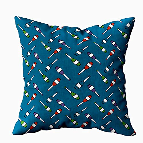 EMMTEEY Home Decor Throw Pillowcase for Sofa Cushion Cover,Juggling Club toss Blue Decorative Square Accent Zippered and Double Sided Printing Pillow Case Covers -