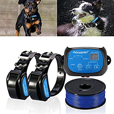 In-Ground Dog Fence System,Focuspet Electric Dog Fence Inground Fence for Dogs Complete Static Electric Dog Fence Kit Rechargeable Waterproof Receiver Training Collar Beep/Tone static