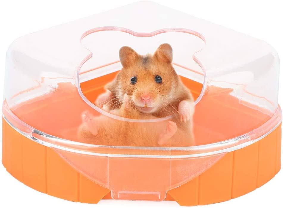 Hamster Sand Baño Plástico Pequeño Contenedor de baño de Arena para Mascotas Hamster Sandbox Sauna Habitación WC Bañera con Cuchara para Chinchilla Golden Bears