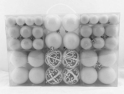 Exklusives Weihnachtskugeln Christbaumkugeln SET mit 100 Stück Farbe Weiß