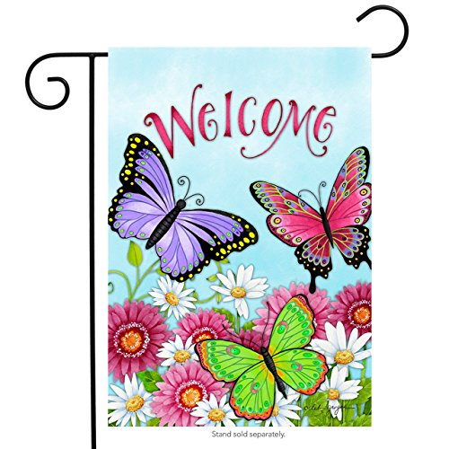 Briarwood Lane Welcome Butterfly Spring Garden Flag Spring Daisy Wildflowers 12.5