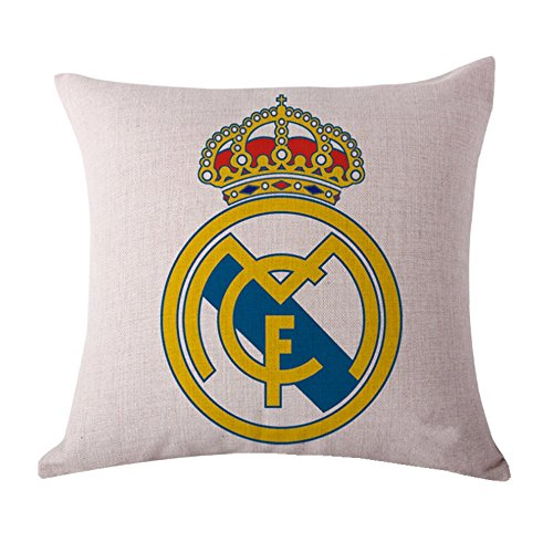 SPILLOWR Real Madrid Home Soccer Club Pillow Shams Throw Pillow Case Shell Decorative Cushion Cover Pillowcase Cotton Linen 18''X18 by SPILLOWR